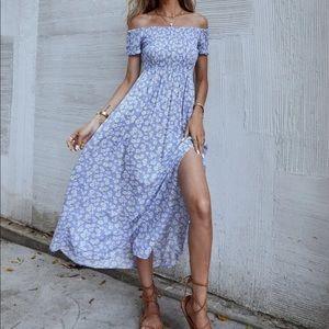 Boho floral off shoulder shirred maxi dress